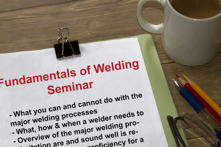 manila envelop: Fundamentals of welding seminar and workshop- with topics in the cover sheet of a lecture.