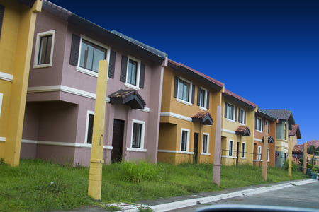Mass housing row house ready for occupancy - spring season.