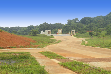 Main gate entrance of a developing subdivision in the Philippines.