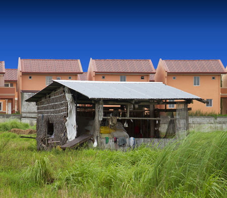 Lone nipa hut in contrast to rising subdivision houses.