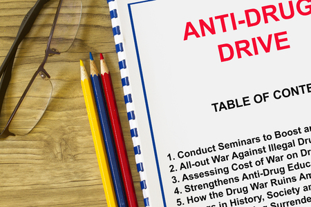 Anti-drug concept with topics on a cover sheet of a lecture