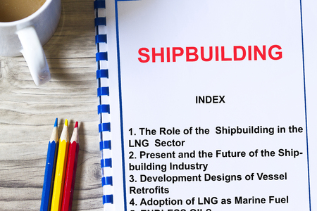 Shipbuilding concept- seminar training all about shipbuilding with topics on a coversheet of a lecture.