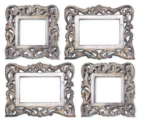old furniture: 4 Wooden Picture Frames Stock Photo