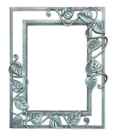 vintage furniture: Pewter Picture Frame With Leaves Stock Photo
