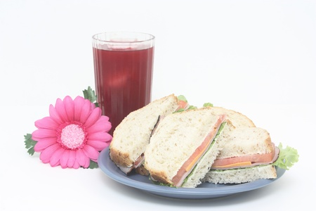 Healthy Sandwich and Juice Glass photo