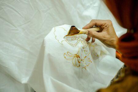 Batik Javanese traditional clothes, making process manually.
