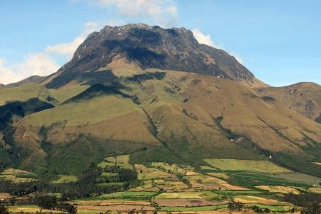 dormant: The volcano Mount Imbabura near Cotacachi Ecuador under a blue sky Stock Photo