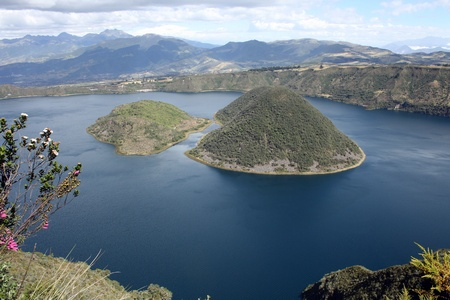 The two islands of Lake  lagoona  Cuicocha Ecuador formed in a volcanic crater near Cotacachi
