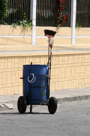 A rolling garbage bin used by sanitation workers to keep the streets of Cotacachi, Ecuador clean