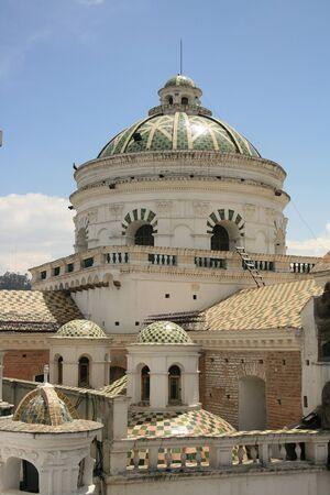 la compania: Domes and arches on the exterior of the La Compania Catholic church in the historic old city of Quito, Ecuador Stock Photo