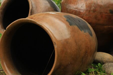 Ceramic pots at Lake Cuicocha near Cotacachi Ecuador