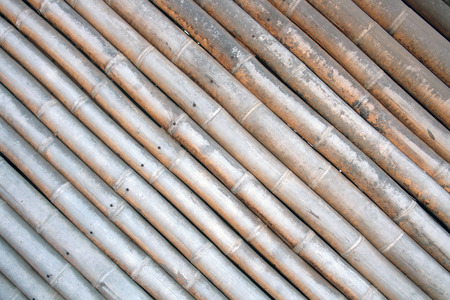 Bamboo logs in a wall in a building in Mindo Ecuador