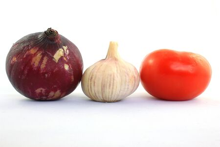 Red onion, garlic and tomatoes in Cotacachi, Ecuador