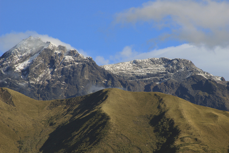 The snow covered summit of the volcano, Mount Cotacachi, in the Andes Mountains in Northern Ecuador