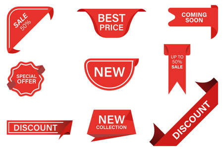 Vector red ribbons banner flat icon set. Best price, coming soon, special offer, new collection, sale and discount stickers isolated vector illustration collection. Vecteurs