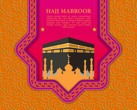 Kaaba and Mosque vector for Hajj Mabroor social media template, Islamic background for Eid al-Adha Mubarak with Islamic pattern. Vetores
