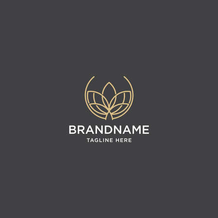 Golden lotus line art logo. Flat leaf logo design premium