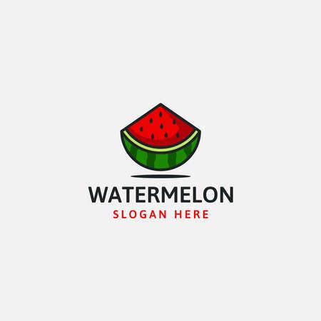 Juicy slice of watermelon bite. logo on a white background. flat isolated vector illustration Illusztráció