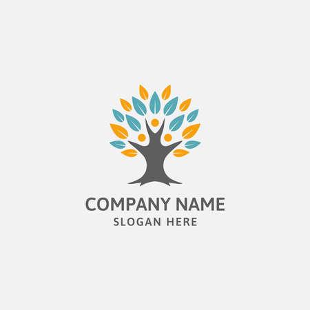 Tree human logo design template