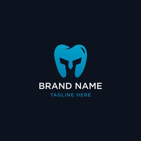 Dental spartan logo design template - vector