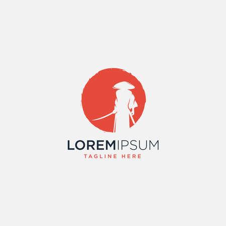 Red Samurai logo design template - vector