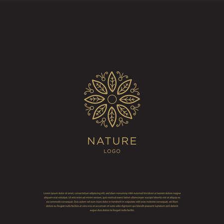 Golden leaf logo. nature line logo template