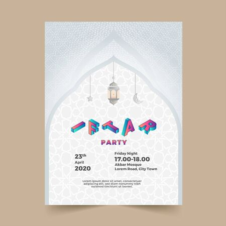 Beautiful silver poster invitation iftar ramadan premium vector
