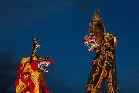 Chinese new year also exist in Indonesia with the name Lion Barong Stock Photo