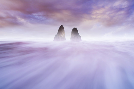 beauty motion waterscapes in ocean purple color of sky Stock Photo