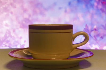 cup of coffe with background flowers Stock Photo