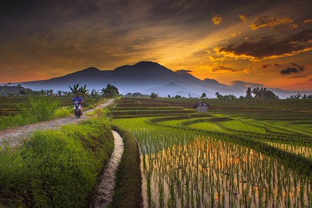 farmer with bike in the morning in north bengkulu travel destination nature place Stock Photo