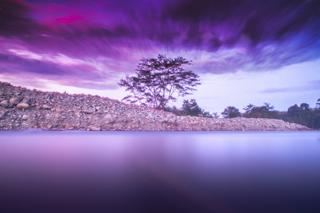 beauty nature of rivers in the morning with purple color Stock Photo