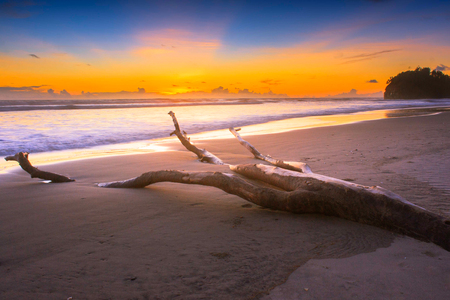 summer season with sunset in the beach indonesia