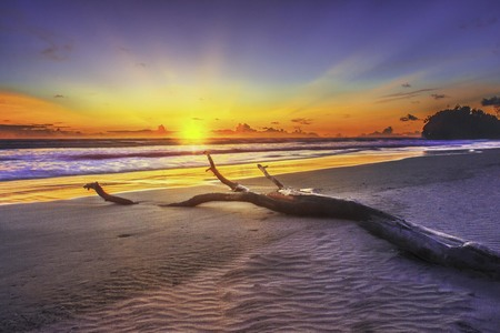 amazing sunset with motion of waterscapes sea