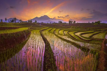 panorama nature mountain with sunrise moment Stock Photo