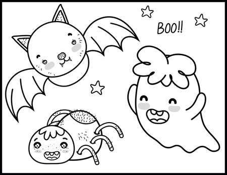 Halloween Coloring Pages Vektoros illusztráció