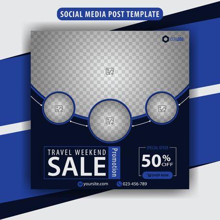 Travel agency ads post social media design banner, editable square abstract, vector illustration Vektorové ilustrace