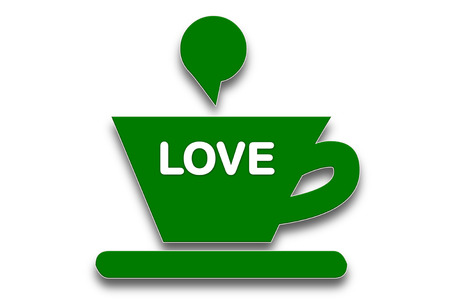 presage: picture show Coffee cup symbol with the word love