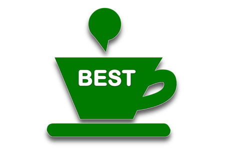 precursor: picture show Coffee cup symbol with the word best