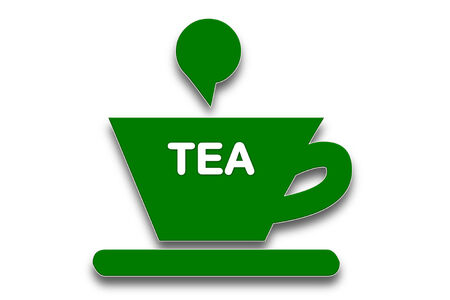 presage: picture show tea or coffee cup symbol with the word tea  Stock Photo