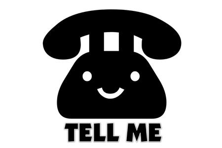 presage: picture of Symbol of communication to talking by telephone and indicated by TELL ME Stock Photo