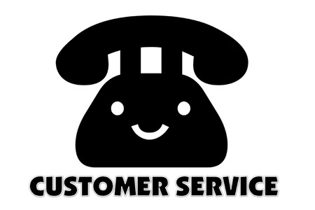 presage: picture of Symbol of communication to talking by telephone and indicated by CUSTOMER SERVICE