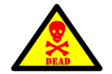 intended: picture of Symbol is intended to alert the safety hazards that may occur with dead word Yellow background and black border