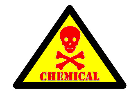 presage: picture of Symbol is intended to alert the safety hazards that may occur with chemical word Yellow background and black border