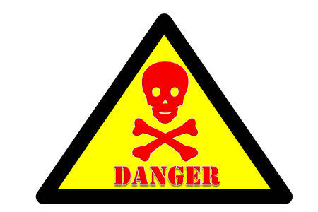 presage: picture of Symbol is intended to alert the safety hazards that may occur with danger word Yellow background and black border  Stock Photo