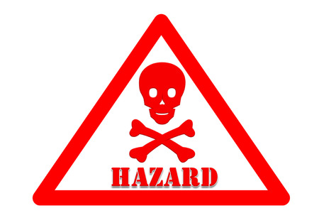 presage: picture of Symbol is intended to alert the safety hazards that may occur with hazard word White background and red border