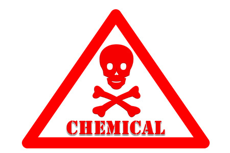 occur: picture of Symbol is intended to alert the safety hazards that may occur with chemical word White background and red border  Stock Photo