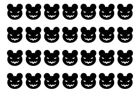 arranged: Devil bear cartoon portrait to be arranged in a row of black and white
