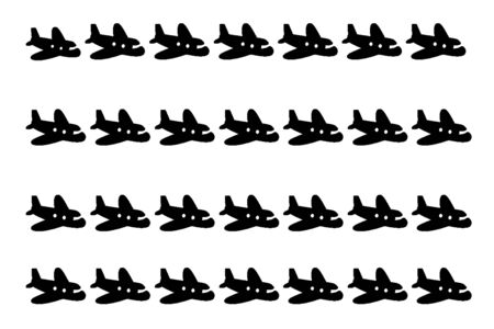 plane cartoon: plane cartoon portrait to be arranged in a row of black and white