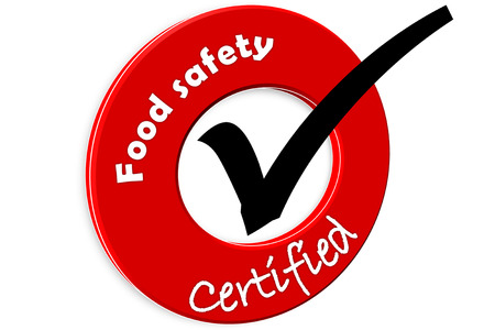 food safety: The images symbol have been food safety certified  Stock Photo